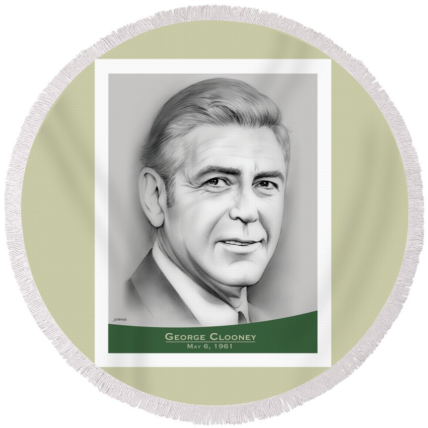 George Clooney Round Beach Towel featuring the drawing George Clooney birthday by Greg Joens