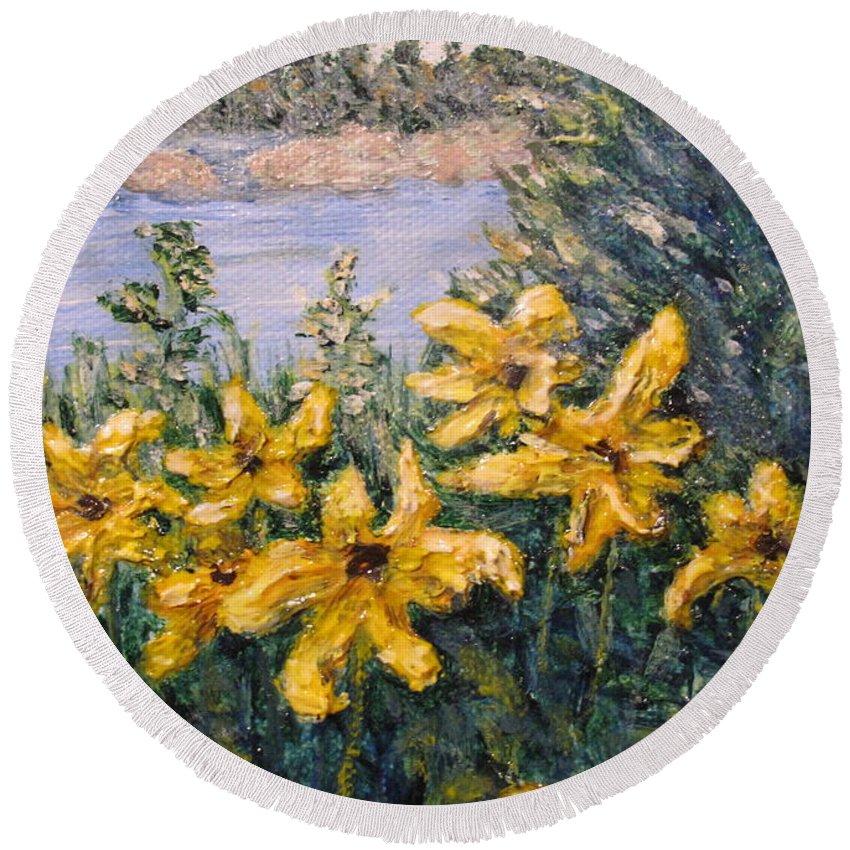 Georgian Bay Round Beach Towel featuring the painting Georgian Bay Flowers by Ian MacDonald