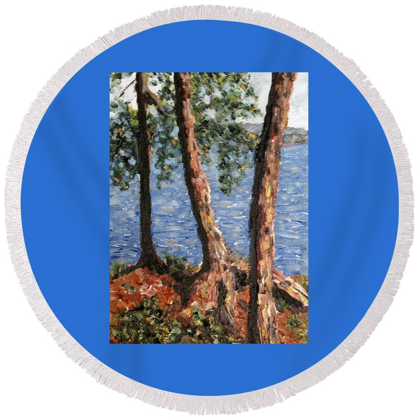 Pines Round Beach Towel featuring the painting Georgian Bay Jack Pines by Ian MacDonald