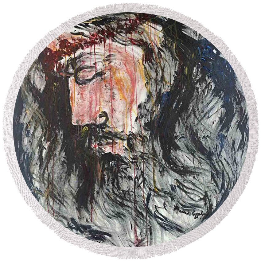 Jesus Round Beach Towel featuring the painting Gethsemane to Golgotha by Nadine Rippelmeyer