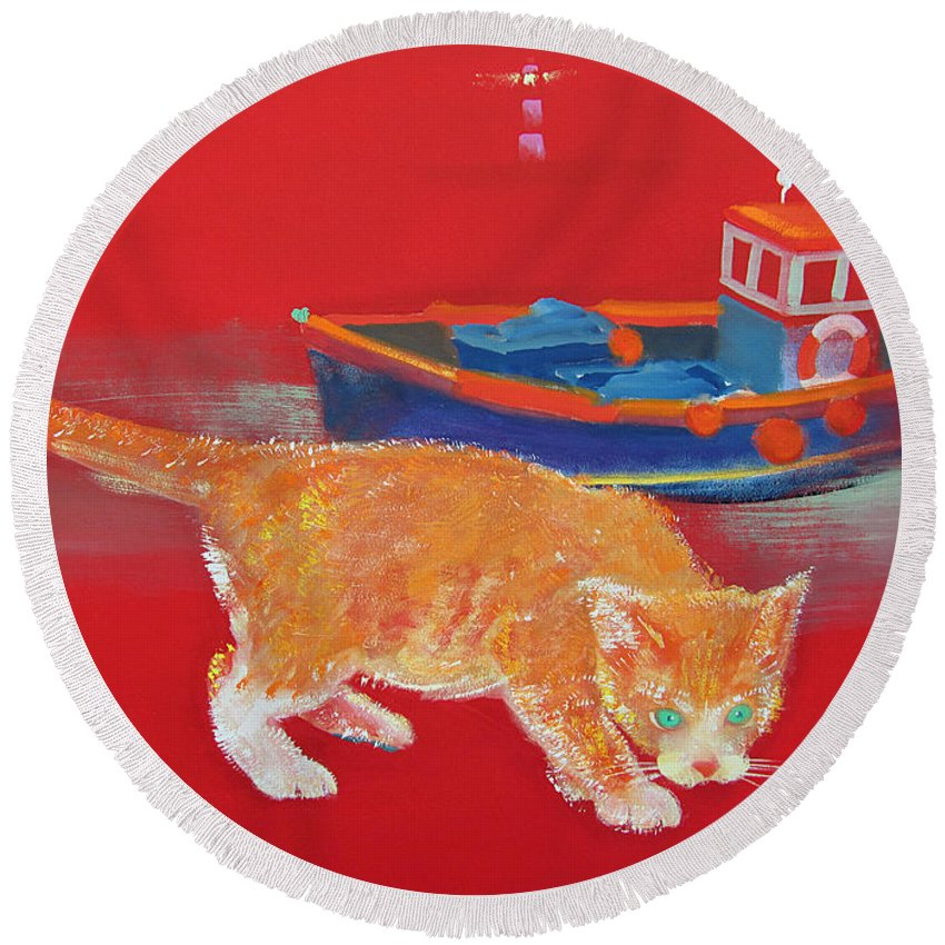 Cat Round Beach Towel featuring the painting Ginger Tabby Cat by Charles Stuart