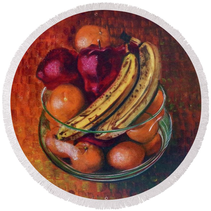 Oil Painting On Canvas Round Beach Towel featuring the painting Glass Bowl Of Fruit by Sean Connolly