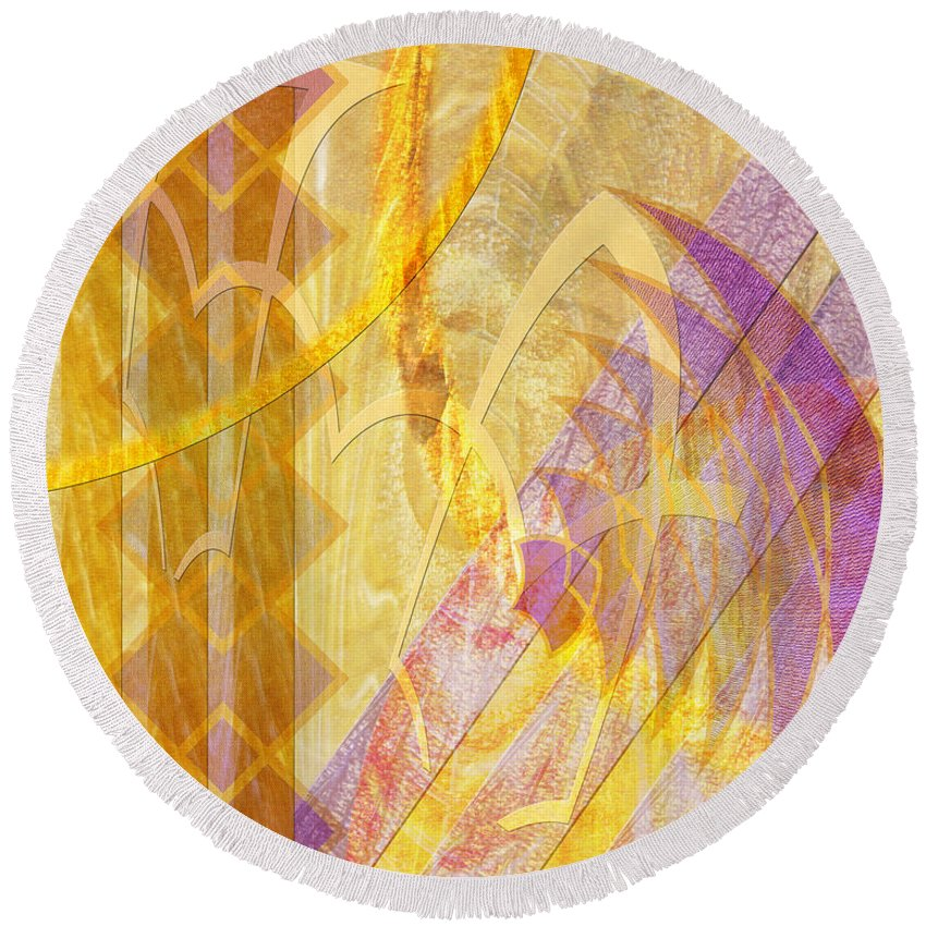 Gold Fusion Round Beach Towel featuring the digital art Gold Fusion by John Robert Beck