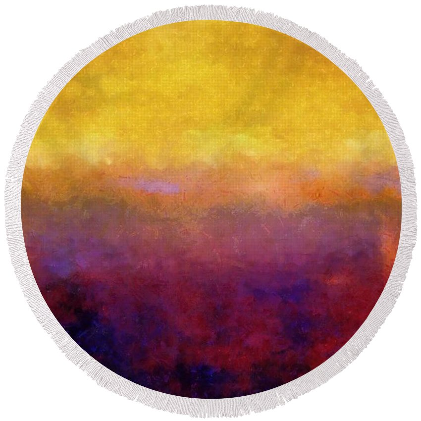 Abstract Round Beach Towel featuring the painting Golden Sunset by Michelle Calkins
