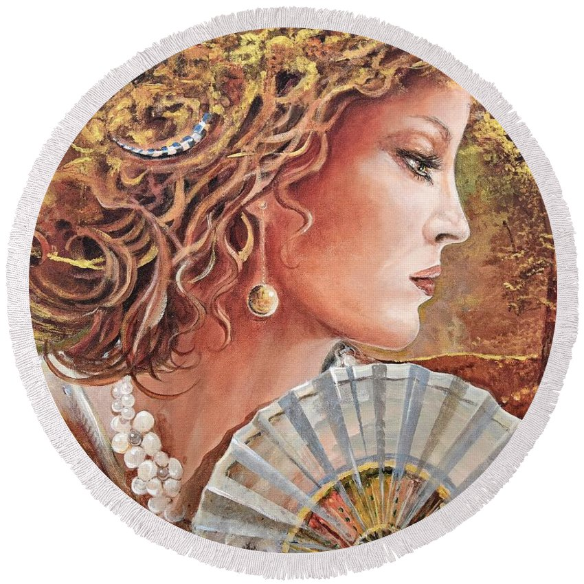 Female Portrait Round Beach Towel featuring the painting Golden Wood by Sinisa Saratlic