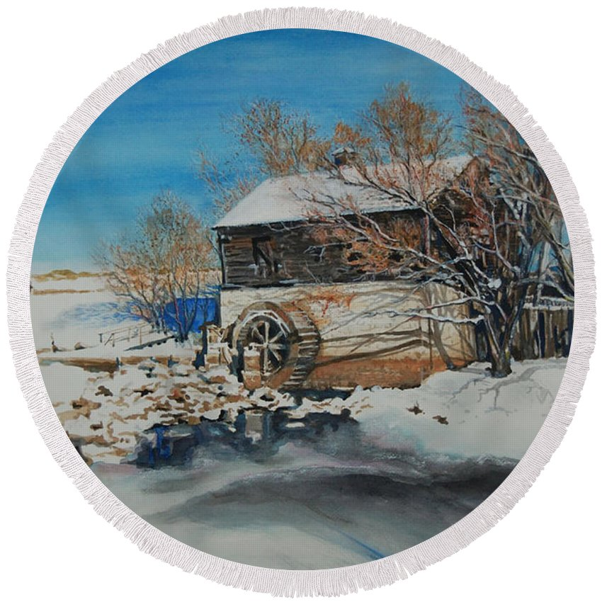 Mill Round Beach Towel featuring the painting Grants Old Mill by Susan Moore