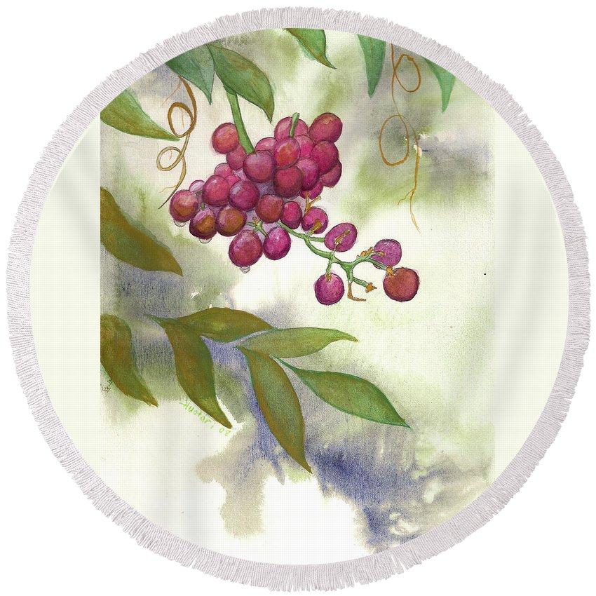 Rick Huotari Round Beach Towel featuring the painting Grapes Divine by Rick Huotari