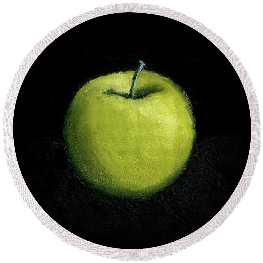 Apple Round Beach Towel featuring the painting Green Apple Still Life by Michelle Calkins