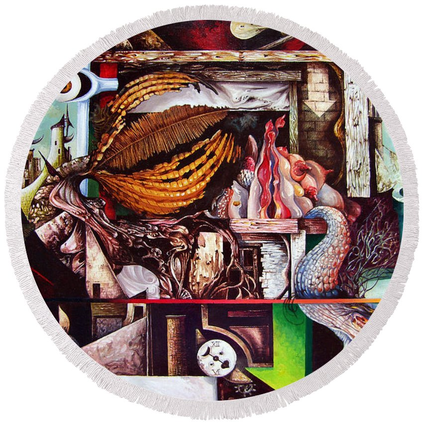 Surrealism Round Beach Towel featuring the painting Grey Day At The Factory by Otto Rapp