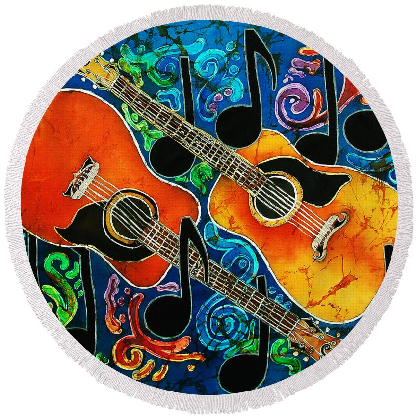 Guitars Round Beach Towel featuring the tapestry - textile Guitars by Sue Duda