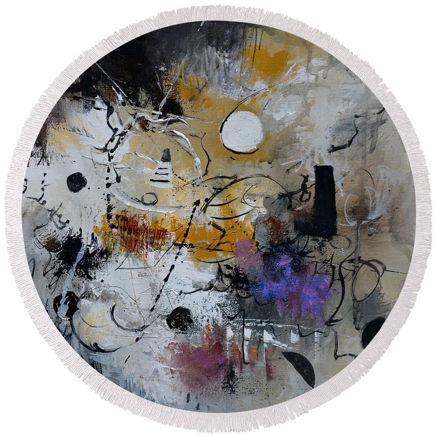 Abstract Round Beach Towel featuring the painting Hamilcar s strategy by Pol Ledent