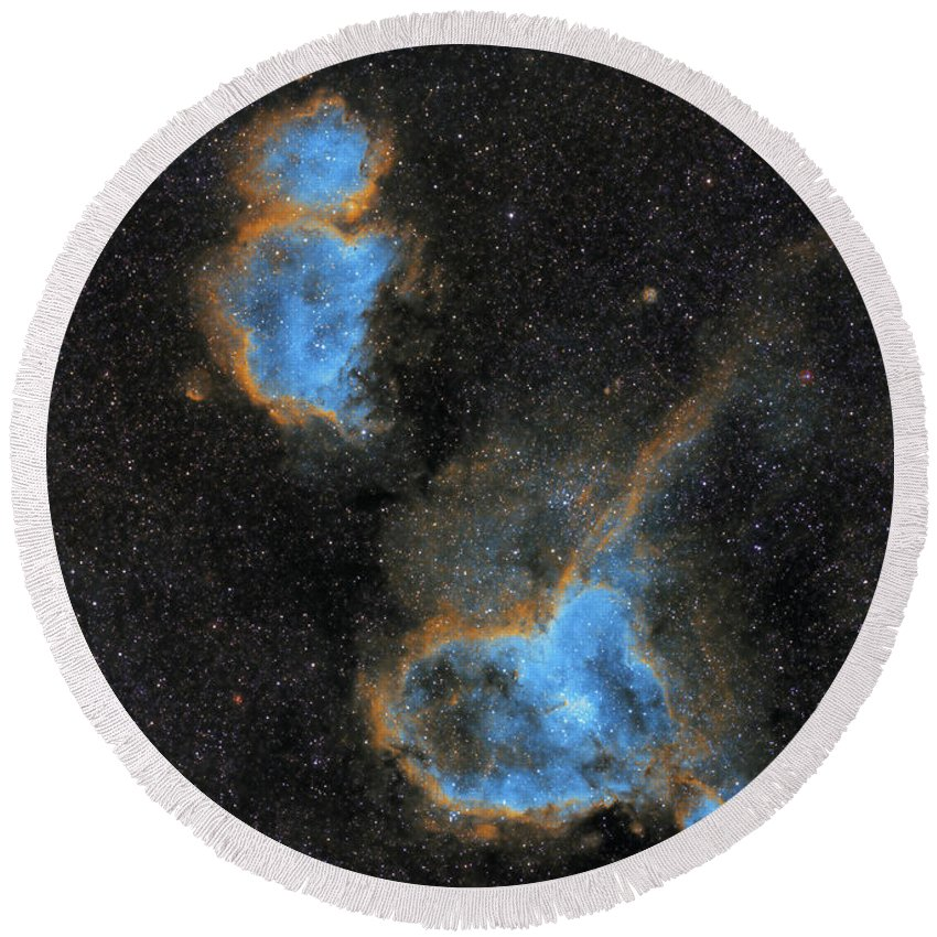 Nebula Round Beach Towel featuring the photograph Heart and Soul Nebula by Prabhu Astrophotography