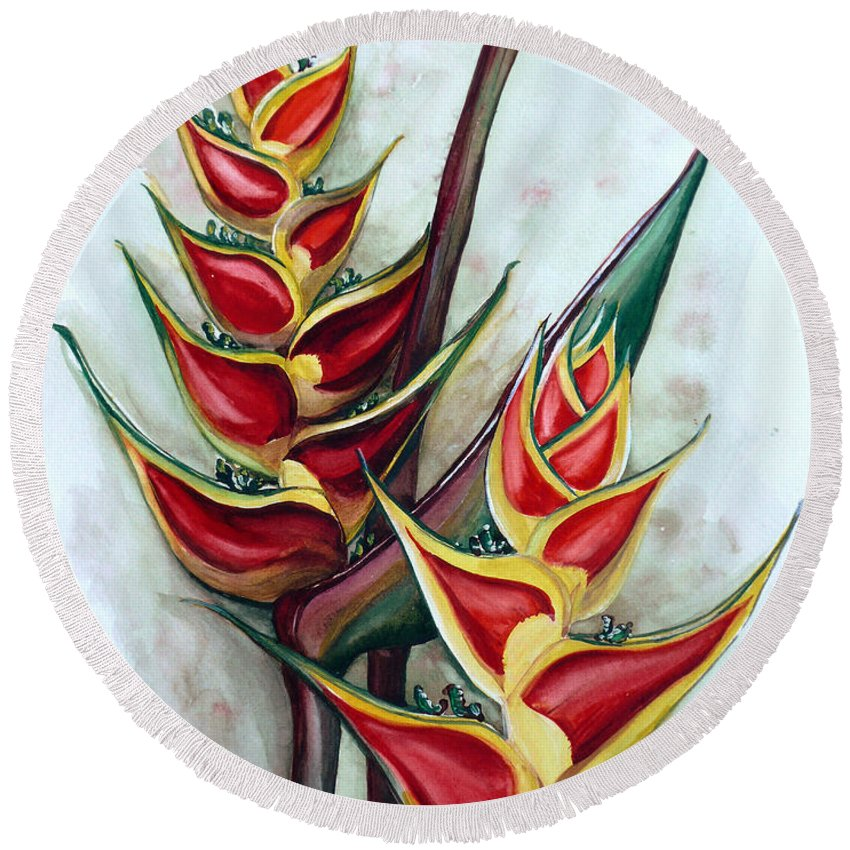 Caribbean Painting Flower Painting Floral Painting Heliconia Painting Original Watercolor Painting Of Heliconia Bloom  Trinidad And Tobago Painting Botanical Painting Round Beach Towel featuring the painting Heliconia Tropicana Trinidad by Karin Dawn Kelshall- Best