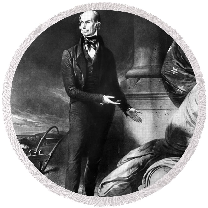 1843 Round Beach Towel featuring the painting Henry Clay by John Neagle