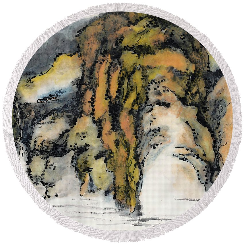 Lai Shaoji Round Beach Towel featuring the painting High Mountains And Flowing Water In    by Lai Shaoji