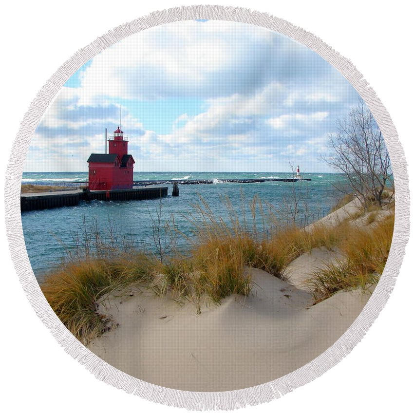 Lighthouse Round Beach Towel featuring the photograph Holland Harbor Lighthouse - Big Red - Michigan by Michelle Calkins