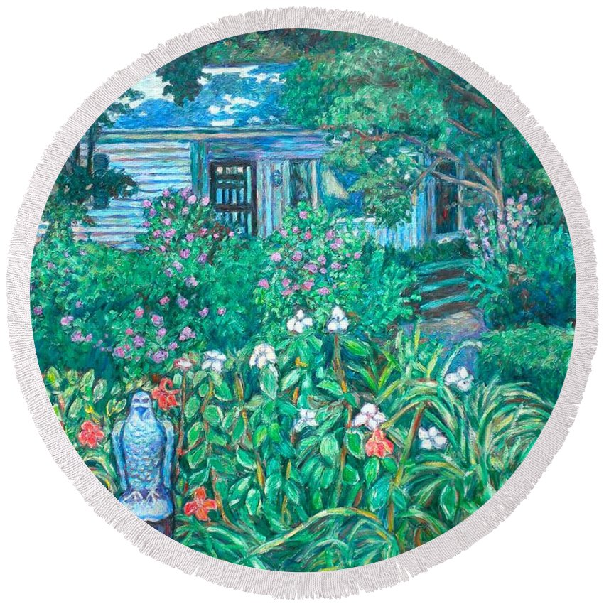 Landscape Round Beach Towel featuring the painting House on Chesterbrook Road in McLean by Kendall Kessler