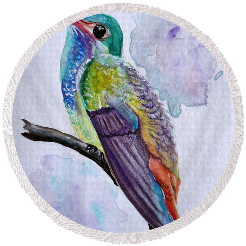 Humming Bird Painting Bird Painting Tropical Painting Caribbean Painting Round Beach Towel featuring the painting Hummingbird 1 by Karin Dawn Kelshall- Best