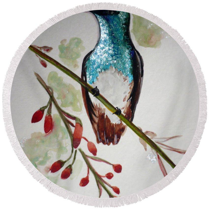 Hummingbird Painting Bird Painting Caribbean Painting Round Beach Towel featuring the painting Hummingbird 3 by Karin Dawn Kelshall- Best