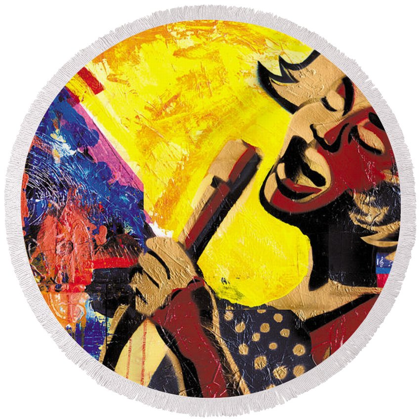 Everett Spruill Round Beach Towel featuring the painting I Sings Da Blues by Everett Spruill