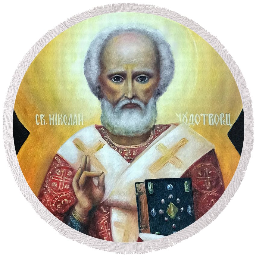 Religion Round Beach Towel featuring the painting icon of St Nicholas the Wonderworker by Natalja Picugina