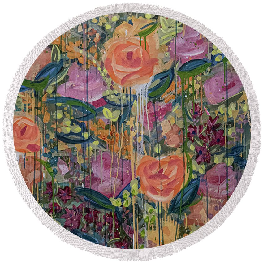 English Garden Round Beach Towel featuring the painting In The Garden by Amanda Armstrong
