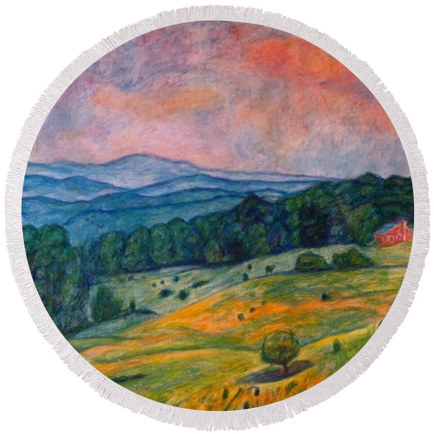 Ingles Mountain Round Beach Towel featuring the painting Ingles Mountain by Kendall Kessler