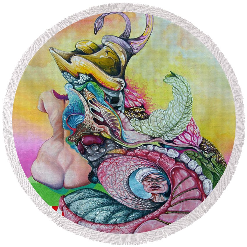 Round Beach Towel featuring the painting Inside Out by Otto Rapp