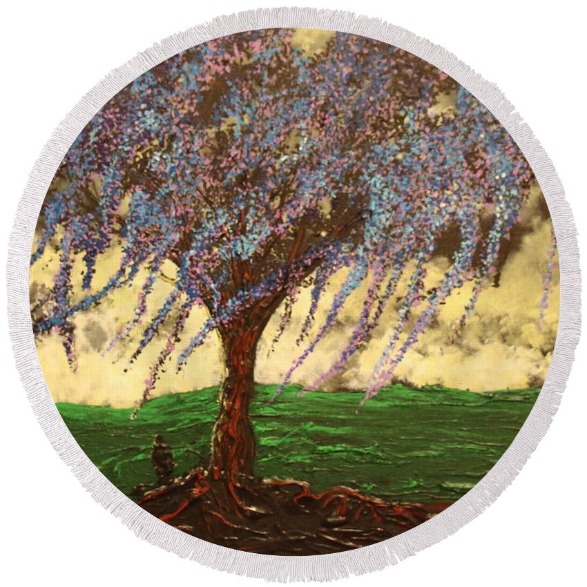 Landscape Round Beach Towel featuring the painting Inspiration of What Dreams May Come by Stefan Duncan
