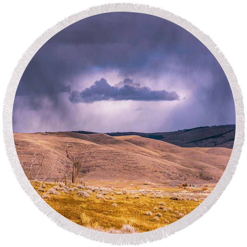 Little Bitterroot Valley Round Beach Towel featuring the photograph Is That Cloud Holy? by Bryan Spellman