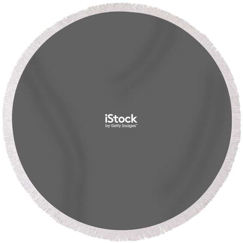 Getty Images Logo Round Beach Towel featuring the digital art iStock White Logo by Getty Images