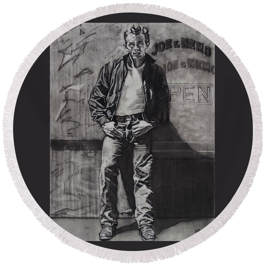 Charcoal On Paper Round Beach Towel featuring the drawing James Dean by Sean Connolly