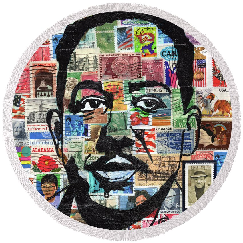 African Mask Round Beach Towel featuring the mixed media James Mercer Langston Hughes by Everett Spruill