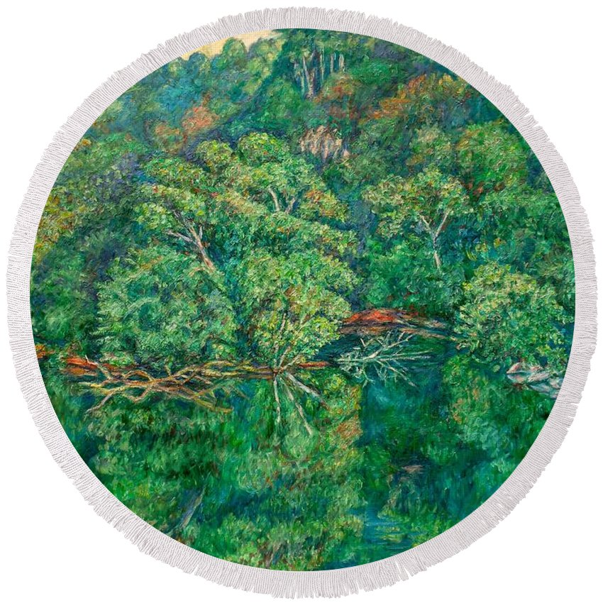 Landscape Round Beach Towel featuring the painting James River Moment by Kendall Kessler
