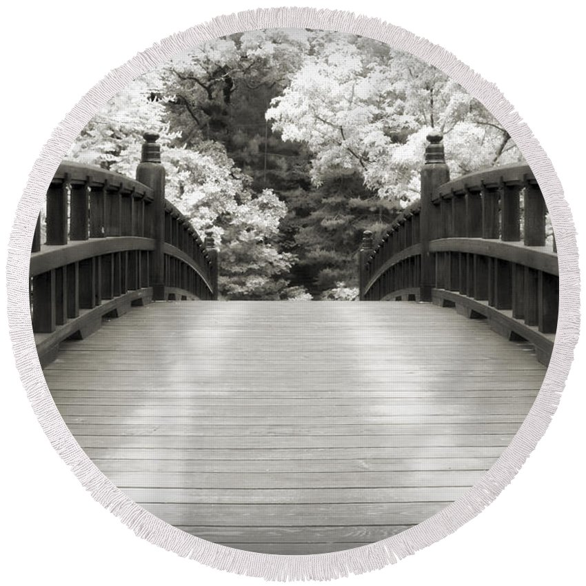 3scape Round Beach Towel featuring the photograph Japanese Dream Infrared by Adam Romanowicz