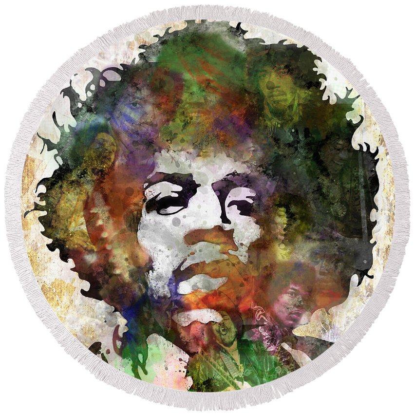 Rock And Roll Jimi Hendrix Music Round Beach Towels