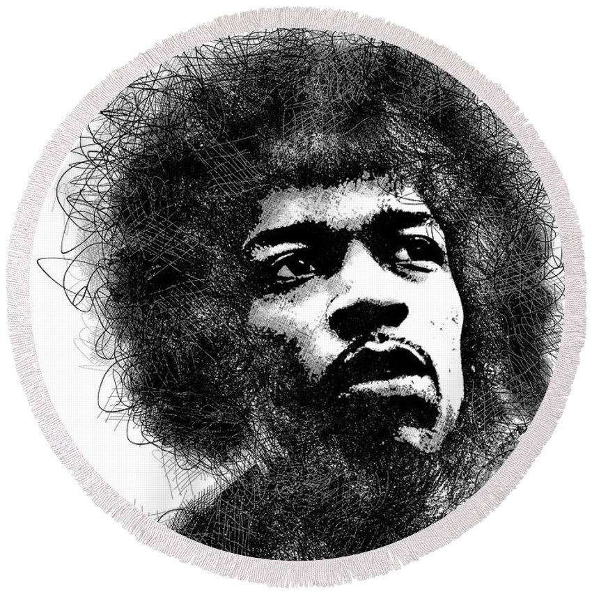 Jimi Hendrix Round Beach Towel featuring the digital art Jimi Hendrix scribbles portrait by Mihaela Pater