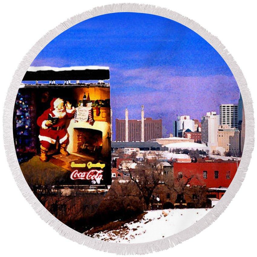 City Round Beach Towel featuring the photograph Kansas City Skyline at Christmas by Steve Karol