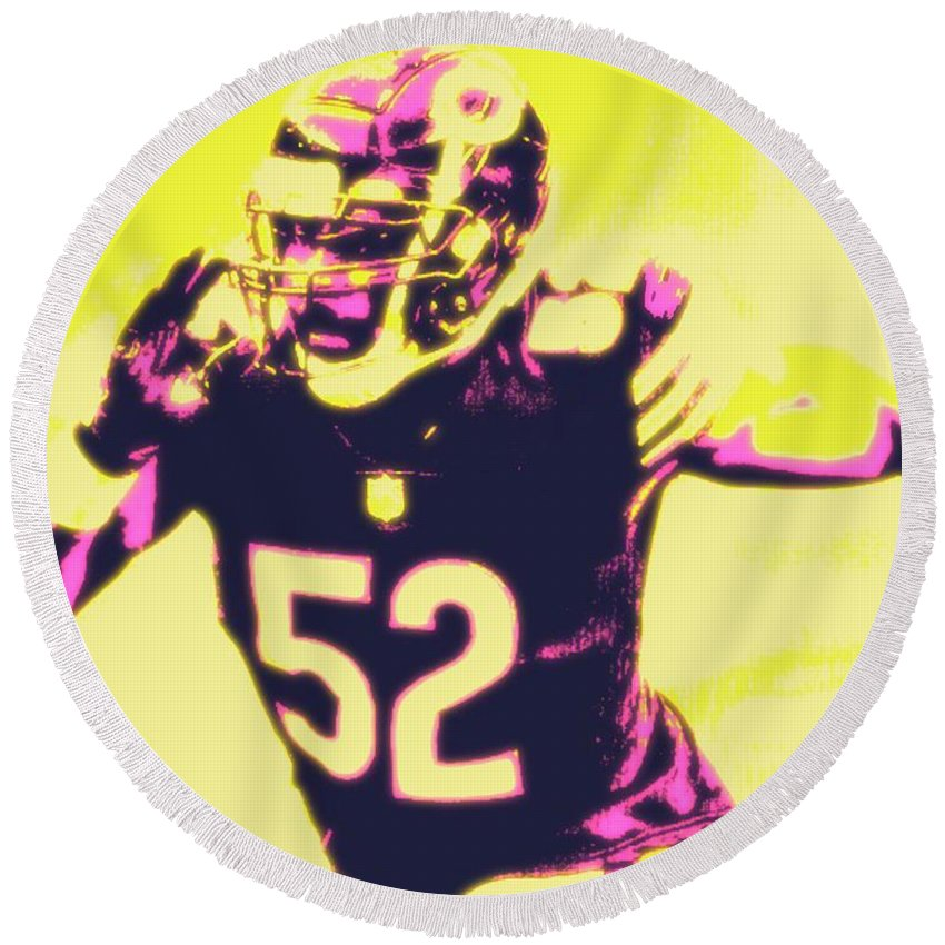 Khalil Round Beach Towel featuring the painting Khalil Mack by Jack Bunds