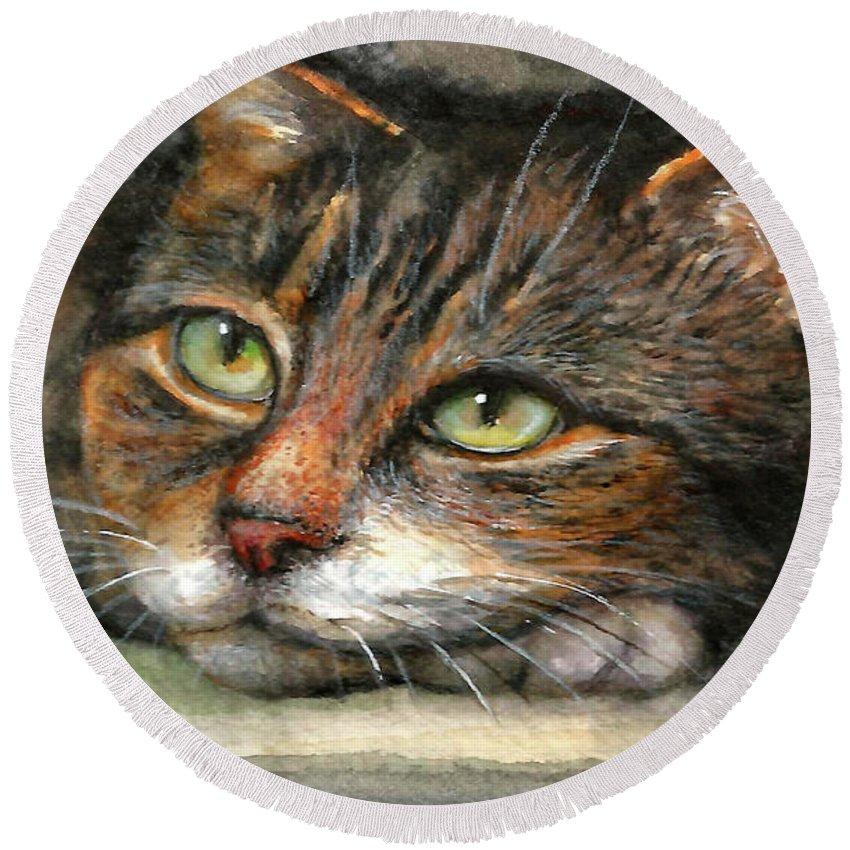 Cat Round Beach Towel featuring the painting Kitty by Natalja Picugina