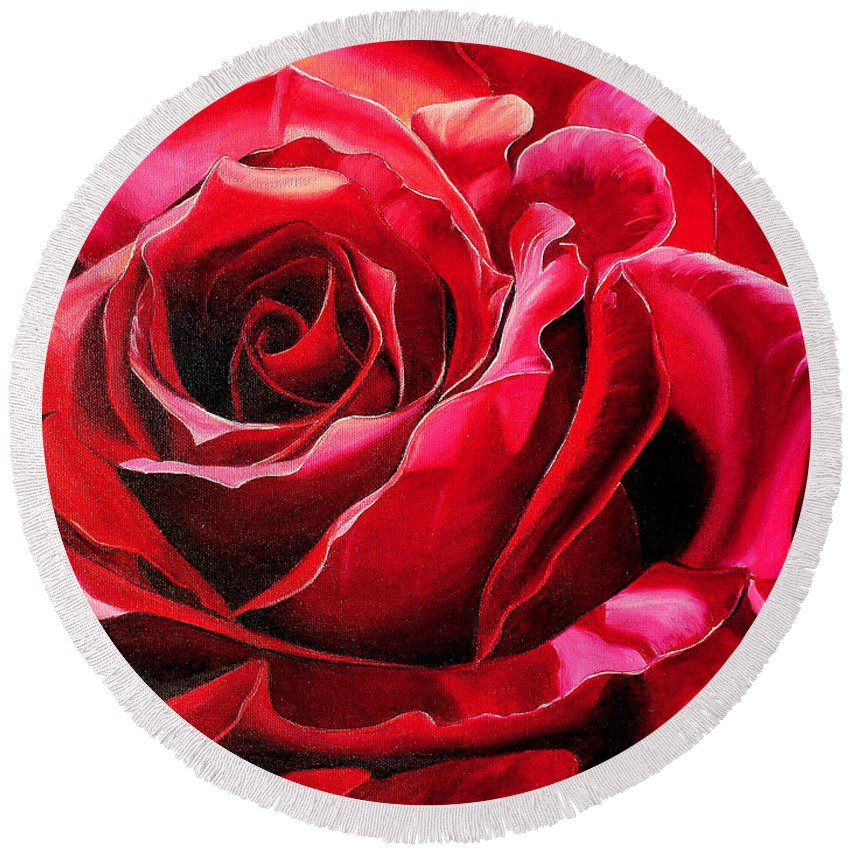 Rose Painting Round Beach Towel featuring the painting Labelle Rose    by Karin Dawn Kelshall- Best