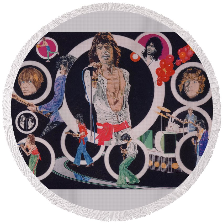 The Rolling Stones Round Beach Towel featuring the drawing Ladies And Gentlemen - The Rolling Stones by Sean Connolly