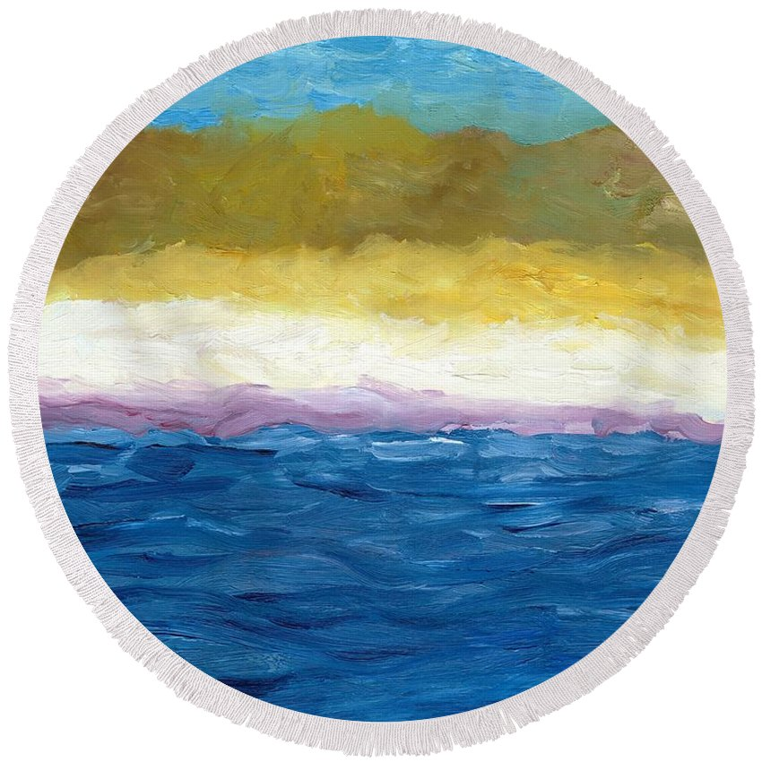 Abstract Landscape Round Beach Towel featuring the painting Lake Michigan Dunes Study by Michelle Calkins