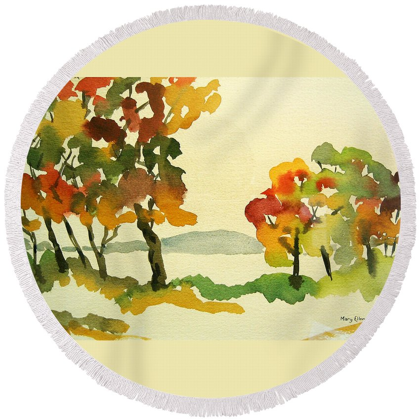 Landscape Round Beach Towel featuring the painting Lake Study by Mary Ellen Mueller Legault