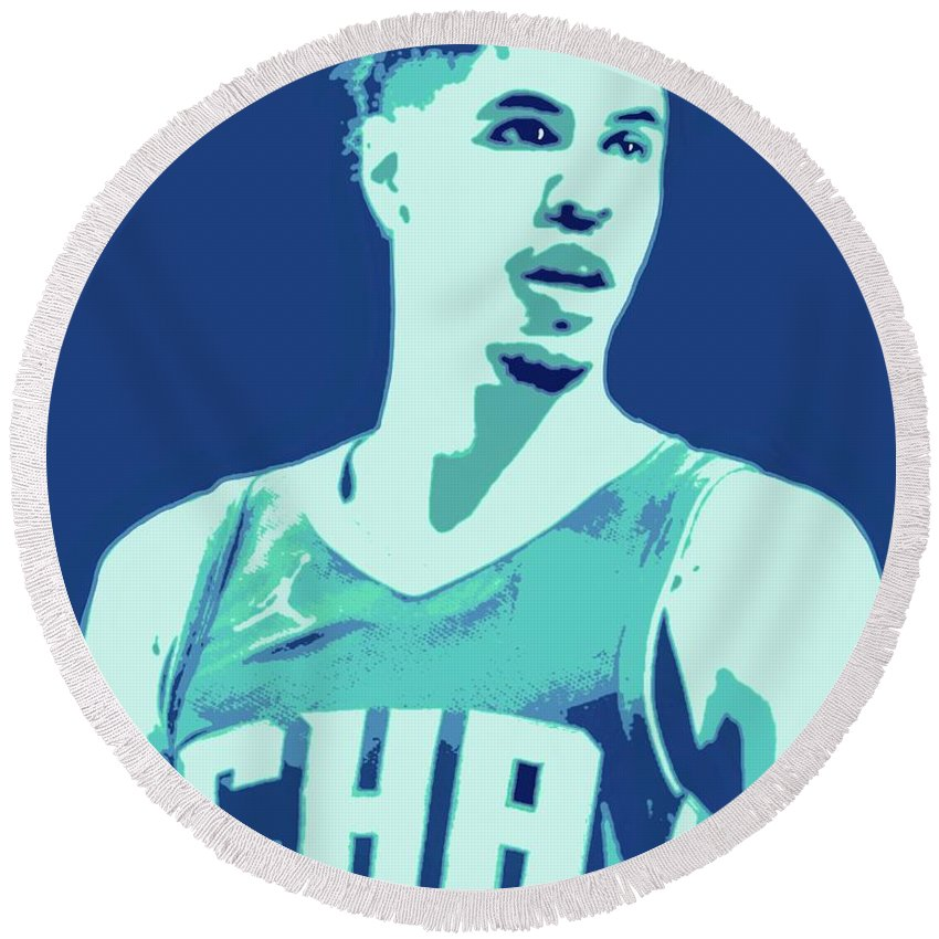 Lamelo Round Beach Towel featuring the painting LaMelo Ball by Jack Bunds