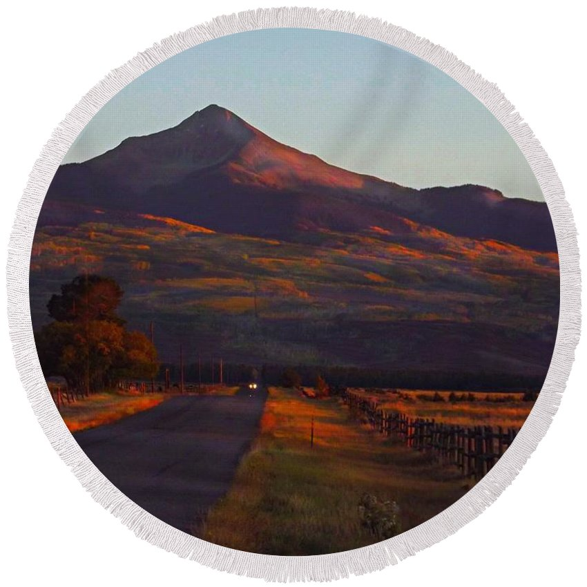 The Lone Cone With Last Sun Rays. Norwood Colorado Round Beach Towel featuring the digital art Late rays Last day of September by Annie Gibbons