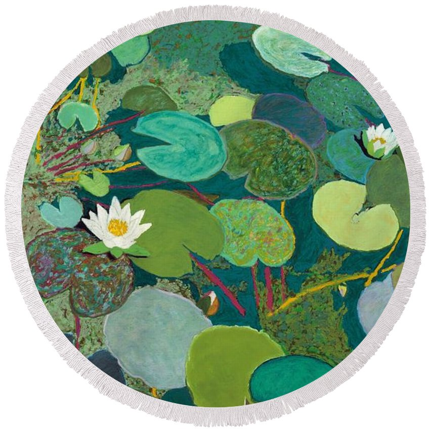 Landscape Round Beach Towel featuring the painting Lazy Pond by Allan P Friedlander