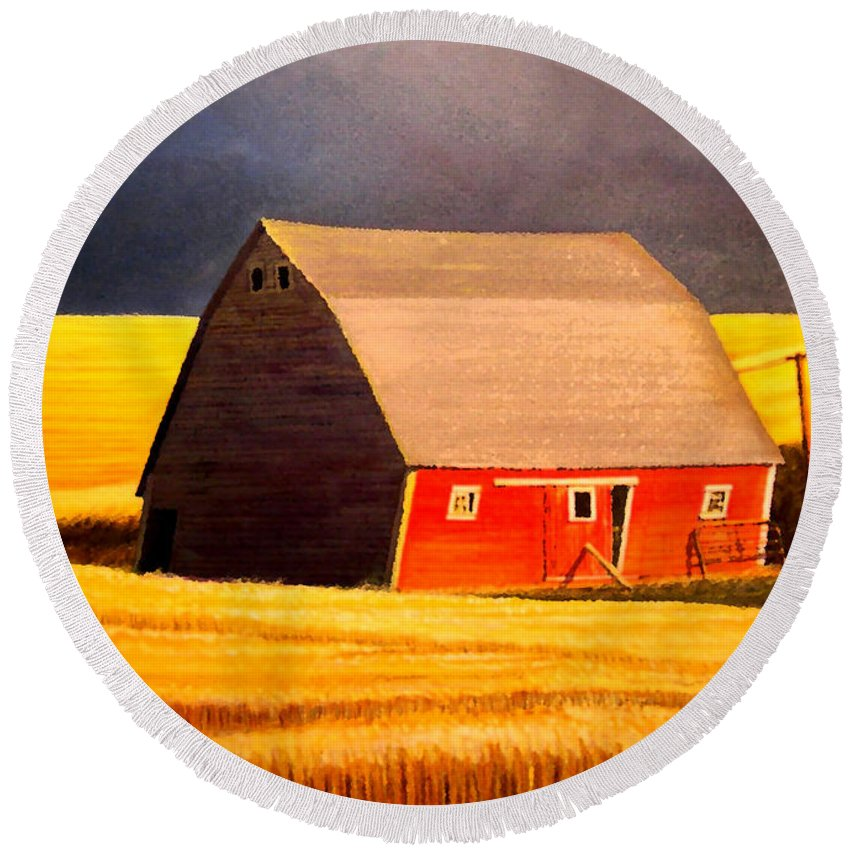 Barn Round Beach Towel featuring the painting Leans to the Right by Leonard Heid