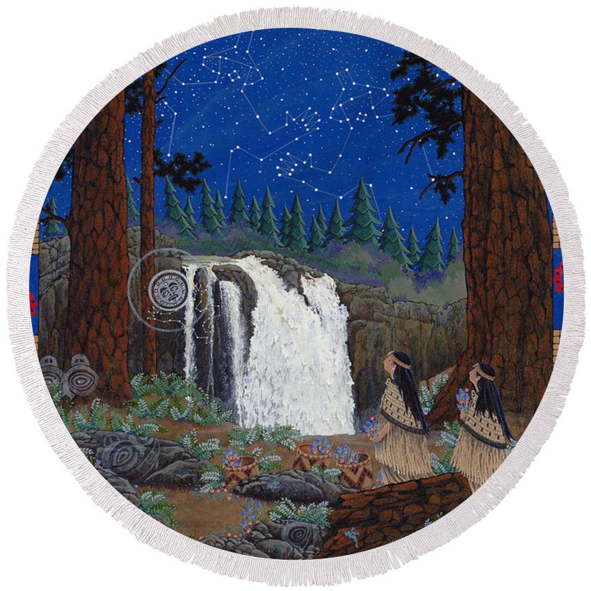 America Round Beach Towel featuring the painting Legend Of Snoqualmie Falls by Chholing Taha