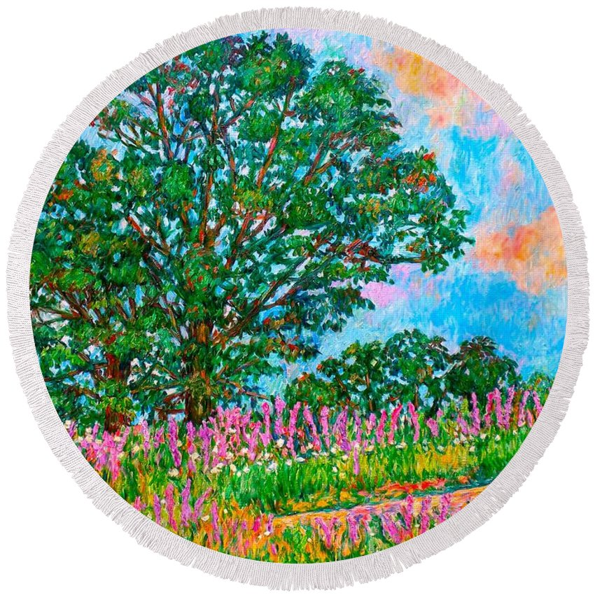 Landscape Round Beach Towel featuring the painting Liatris Flowers at Doughton Park by Kendall Kessler